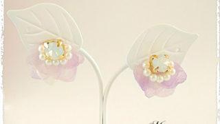 『紫陽花*レースドレス』 レジン フラワー アクセサリー 作品