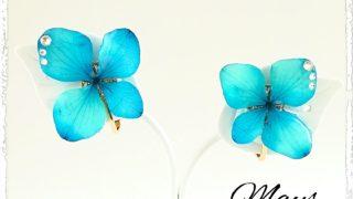 『紫陽花*瑠璃色』 レジン フラワー アクセサリー 作品
